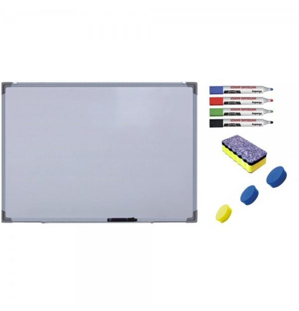 Pachet Tabla alba magnetica, 100x150 cm Premium + accesorii: markere, burete, magneti